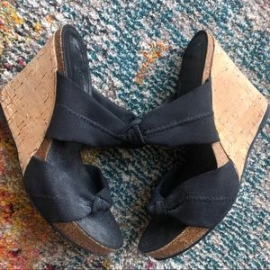 Black Wedges with Sparkly Cork